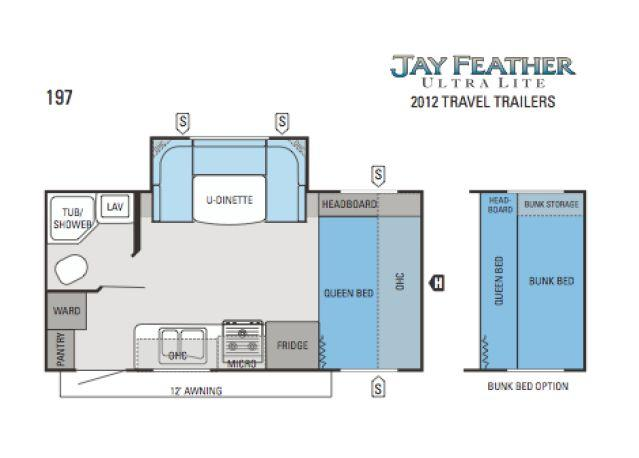 2012 jayco jay feather 197 ultra lite travel trailer new for Floor plans jayco travel trailers