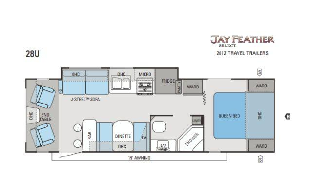2012 jayco jay feather select 28u travel trailer for Select floor plans