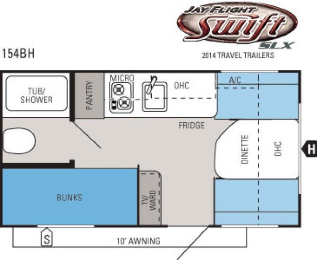 2014 jayco jay flight swift slx 154bh travel trailer prescott az floorplan