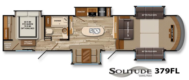 fifth wheel front living room. Floorplan 2014 Grand Design Solitude 379FL Fifth Wheel Indianapolis  IN