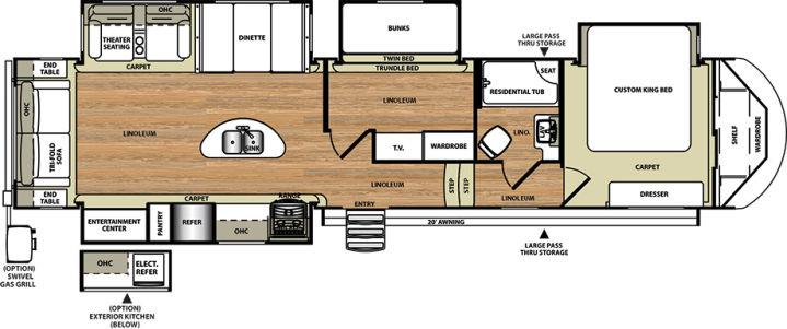 Forest River Salem Hemisphere RLBH Fifth Wheel Christiana - Forest river 5th wheel floor plans