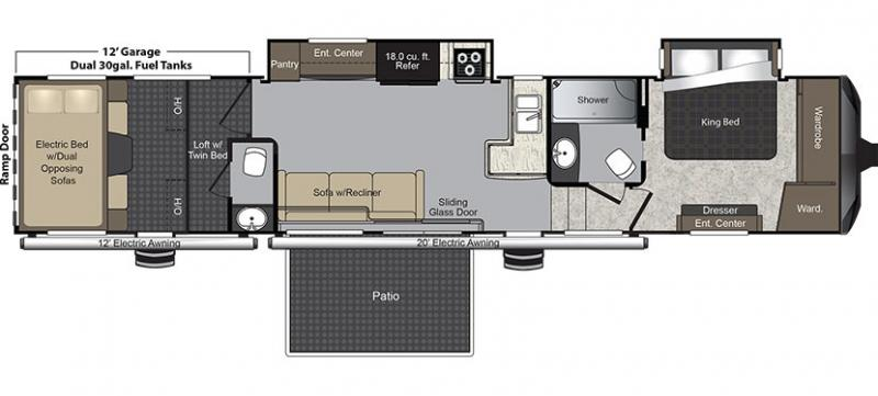 2016 keystone raptor 422sp fifth wheel owatonna mn noble for 16 ft toy hauler floor plans