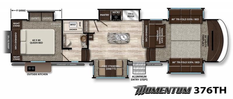 2017 grand design momentum 376th fifth wheel southaven ms for Outdoor floor plan