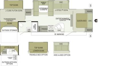 Floor Plan for the Bunkhouse Cabin - Willowbrook Cabin Rentals