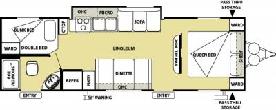 2012 Forest River Salem Cruise Lite 281BH floorplan