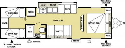 2012 Forest River Salem Cruise Lite 281QB floorplan
