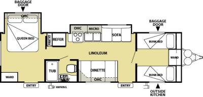 2013 Forest River Salem Cruise Lite 291FB floorplan