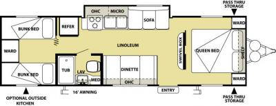 2014 Forest River Salem Cruise Lite 281QB floorplan