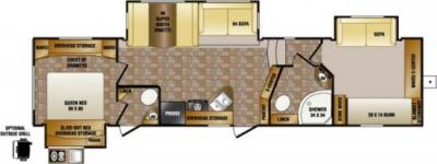 2014 CrossRoads Sunset Trail Reserve 34BH floorplan