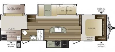 2016 Keystone Cougar XLite 33RBI floorplan
