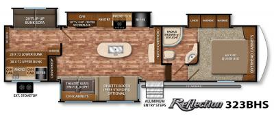 2017 Grand Design Reflection 323BHS floorplan