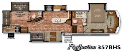 2017 Grand Design Reflection 357BHS floorplan