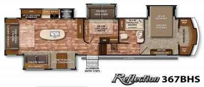 2017 Grand Design Reflection 367BHS floorplan