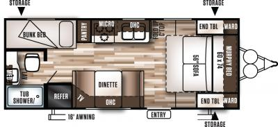 2017 Forest River Wildwood X-Lite 201BHXL floorplan