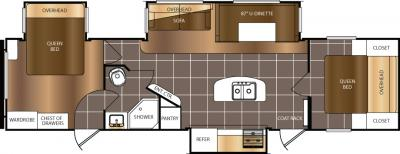 2017 Prime Time  Avenger 34DQB floorplan