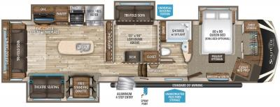2017 Grand Design Solitude 377MBS floorplan