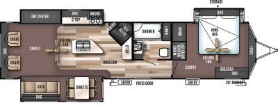 2018 Forest River Wildwood Lodge 393RLT floorplan