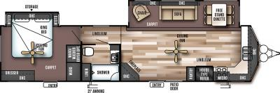 2018 Forest River Wildwood Lodge 394FKDS floorplan