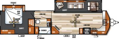 2018 Forest River Salem Villa Estate 394FKDS floorplan