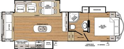 2018 Forest River Sandpiper 3250IK floorplan