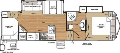 2018 Forest River Sandpiper 3275DBOK floorplan
