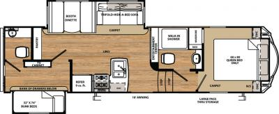 2018 Forest River Sandpiper 3350BH floorplan