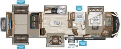 2019 Grand Design Solitude 375RES-R floorplan