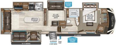 2019 Grand Design Solitude 377MBS-R floorplan