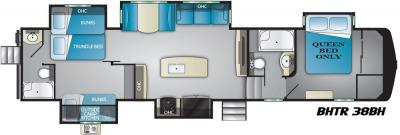 2019 Heartland Bighorn Traveler 38 BH floorplan