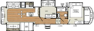 2018 Forest River Sandpiper 371REBH floorplan