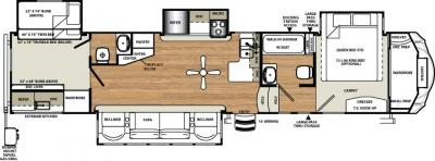 2018 Forest River Sandpiper 376BHOK floorplan