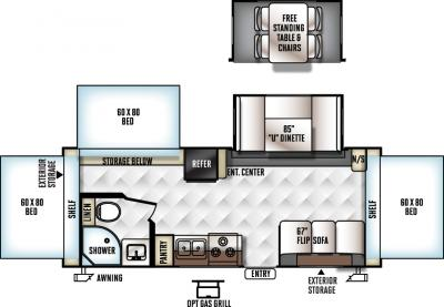2018 Forest River Rockwood Roo 233S floorplan