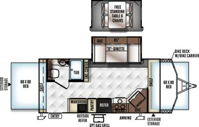 2018 Forest River Rockwood Roo 21BD floorplan
