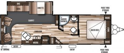 2019 Forest River Wildwood 27RLSS floorplan