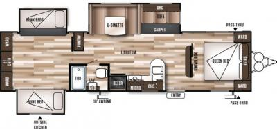 2019 Forest River Wildwood 31KQBTS floorplan