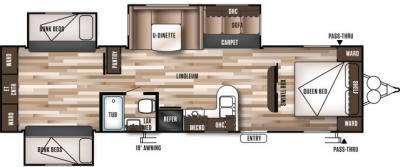 2019 Forest River Wildwood 31QBTS floorplan