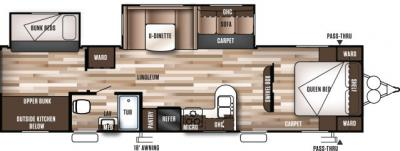 2019 Forest River Wildwood 32BHDS floorplan