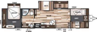 2018 Forest River Wildwood 36BHBS floorplan