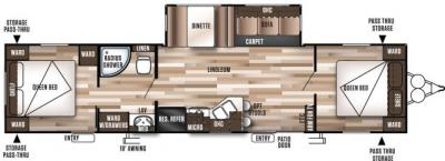 2019 Forest River Wildwood 37BHSS2Q floorplan