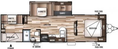 2019 Forest River Wildwood 30QBSS floorplan