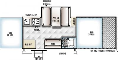 2018 Forest River Flagstaff Sports 28TSCSE floorplan