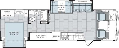 2019 Holiday Rambler Admiral 31B floorplan
