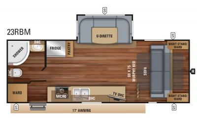 2019 Jayco Jay Feather 23RBM floorplan